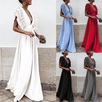 Women Ruffles Flying Sleeve Party Long Dress Solid Color Formal Lady Deep V Neck High Waist Dress Backless Wedding Party Dress