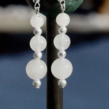White Jade Earrings ~ Chinese Jade Dangle Earrings ~ Semi Precious Stones ~ Unique Gift ~ Healing Stone Jewellery ~ Good Luck Stone