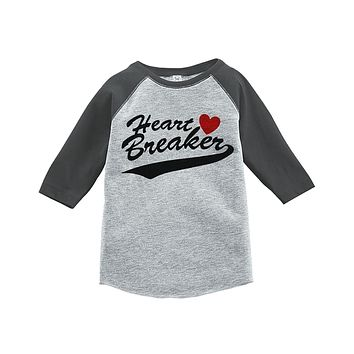 Custom Party Shop Kids Heart Breaker Happy Valentine's Day Grey Raglan