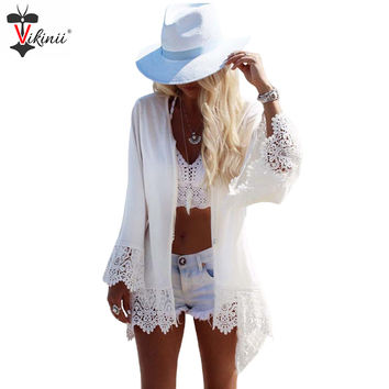 2016 New Arrivals Swimwear Women White Eagle Print Beachwear Lace Long Sleeve Summer Dress Kaftan Beach Bathing Suit Cover Ups