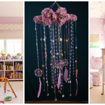 Pink Violet Baby Mobile handmade Dreamcatcher bedroom Baby Mobiles bedding DreamCatcher Dreamcatchers Christmas present pink violet balance