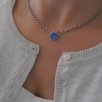 Sapphire Blue, Swarovski Necklace, Dainty, Delicate, Minimalist, Bridesmaid Gift, Filigree, Barely there, Crystal, Art Deco Choker