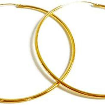 24k Yellow Gold Plated Large Continuous Endless Hoop Earrings 45 mm x 15 mm Tube Thick