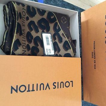 Louis Vuitton Leopard And Monogram Square Scarf