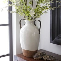 Farmhouse Vase with Metal Handles