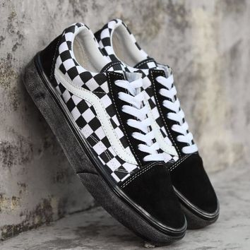 VANS Black and white plaid low shoe shoes