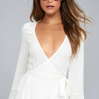 Great Expectations White Wrap Top