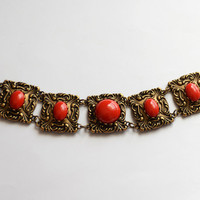 Chinese New Year Cherry Red Lucite and Antiqued Brass Bracelet, Empress Bracelet, Cherry Red Bracelet, Beautiful Brass Linked Bracelet SRAJD