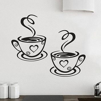 Home Kitchen Restaurant Cafe Tea Wall Sticker Coffee Cups Sticker Wall Decor