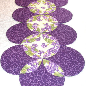 Table Runner Quilt - Table Topper Centerpiece - Grape, Grapevine, Green, Purple