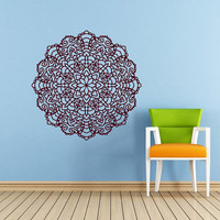 Mandala Wall Decal Namaste Flower Mandala Indian Lotus Yoga Wall Decals Vinyl Sticker Interior Home Decor Art Wall Decor Bedroom SV6028