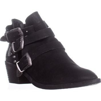 Dolce Vita Spur Double Buckle Ankle Booties, Black Leather, 9 US