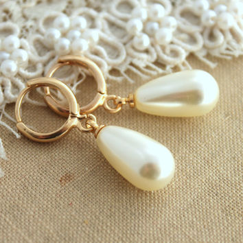 Bridal bridesmaids  jewelry Pearls and gold earrings - 14K  Gold filled earrings with white Majorica perfect white pearls.