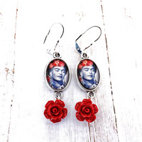 Frida Kahlo  Red Flower Dangle Earrings