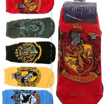 Licensed cool Harry Potter Hogwarts Houses Crest Ankle No-Show Socks 5 Pair Mix & Match NEW