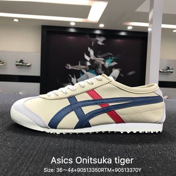 ASICS Onitsuka Tiger Mexico Trending Fashion Women Casual Sports Shoes White-Navy G-PSXY