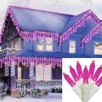 Set of 70 Pink LED M5 Mini Twinkle Icicle Christmas Lights - White Wire