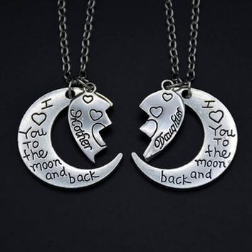 2 Half Heart 2 Parts Pendant Necklace Heart Mother Daughter Necklace I Love You To The Moon And Back
