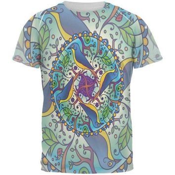 CREYCY8 Mandala Trippy Stained Glass Spring Birds All Over Mens T Shirt