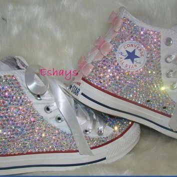 CREYUG7 Kids High Top Sequin Bow Rhinestone Converse