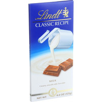 Lindt Chocolate Bar  Milk Chocolate  31 Percent Cocoa  Classic Recipe  4.4 Oz Bars  Case Of 12