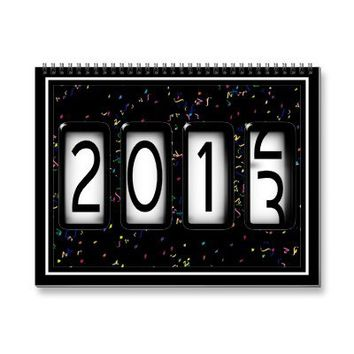 2013 New Years Odometer (With Black Confetti) Wall Calendar from Zazzle.com