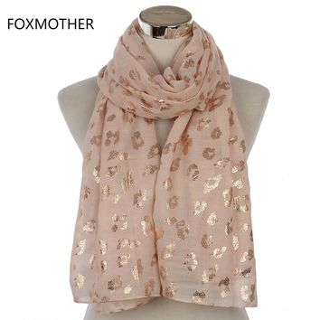 FOXMOTHER 2017 New Ladies Fashionable Navy Pink Metallic Foil Rose Gold Leopard Long Scarf Evening Wrap Shawl Women Gifts