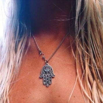 Hamsa Necklace Kabbalah - Silver Chain Necklace - Protection & Good Luck Charm
