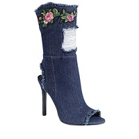 Dalila Distressed Denim Peep Toe Ankle Boots