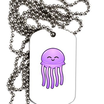 Cute Jellyfish Adult Dog Tag Chain Necklace by TooLoud