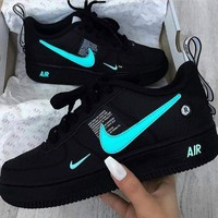 NIKE AIR FORCE 1 AF1 OW Running Sport Shoes Sneakers black
