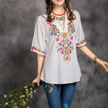 2017 Hot Sale Vintage Ethnic Floral EMBROIDERED BOHO Mexican Peasant Tunic Blouse Gypsy DRESS Free Size Free Shipping