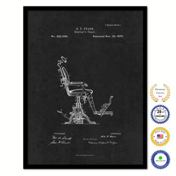 1879 Dentist's Chair Vintage Patent Artwork Black Framed Canvas Home Office Decor Great for Dentist Orthodontist