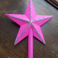 Vintage Russian Glass Christmas Tree Topper- Hot Pink STAR, New Old Stock, 1977 USSR