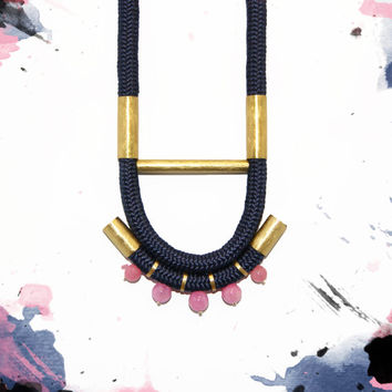 Statement rope necklace Pink gemstones Brass design  necklace Long necklace  Navy  blue  necklace
