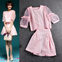 Solid Sheer Mesh Butterfly Sleeves Cropped Top High Waist Mini Dress