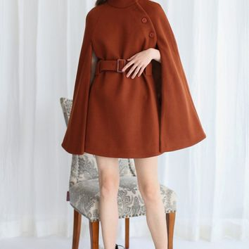 Talkin' About Stylishness Wool-Blend Cape Coat in Caramel