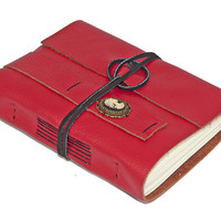 Red Leather Journal with Lolita Skull Cameo Bookmark