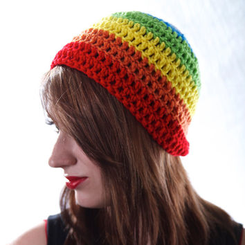 Crochet Rainbow Beanie Hat Small
