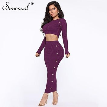 Simenual Solid Fashion Women Two Piece Outfits Casual Bodycon 2020 Spring Matching Set Slim Long Sleeve Crop Top And Skirt Sets