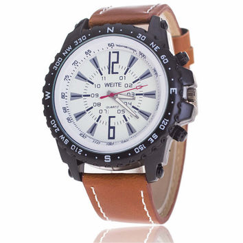 Mens Boys Adventurer Leather Strap Watch +  Beautiful Gift Box
