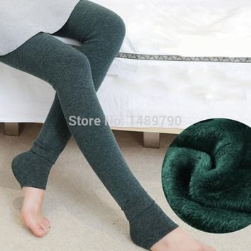 2014 winter leggings super soft warm thick velvet fleece leggings low temperature leggings plus size big women winter leggings
