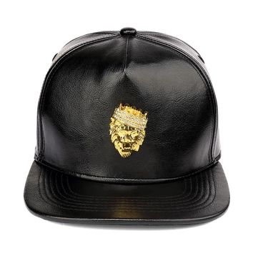 Luxury Adjustable PU Leather Gold Rhinestone Crown Lion Head Baseball Caps Black Snapback Hats Men Women Hip Hop Cap