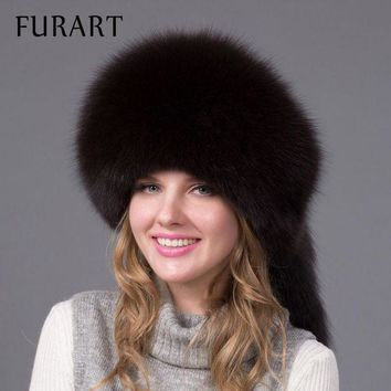 CREYCI7 winter fur cap real fox fur hat with fur tail fashion Russian high quality female brand hat women winter warm cap HJL-06X