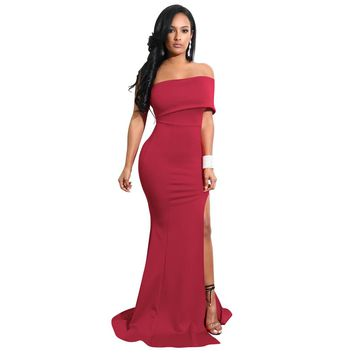 2018 Elegant Women Mermaid Maxi Dress Sexy Off the Shoulder High Split Formal Dress Solid Slim Fit Bodycon Long Party Dresses
