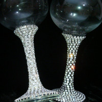 Custom Made Wine Glasses Bride Groom Wine Glass Wedding Glasses Bridesmaid Wine Glass Sweet 16 Rhinestone Crystals