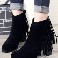 Black Suedette Fringe Detail Chunky Heel Ankle Boots