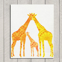 Giraffe Nursery Art Print  8x10 by DeliveredByDanielle on Etsy
