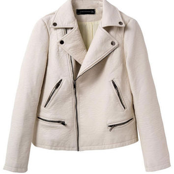Beige Lapel Thick Zipper PU Leather Biker Jacket
