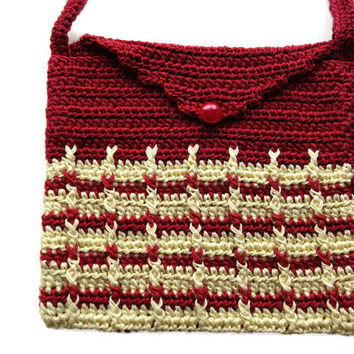 Crochet Shoulder Purse Mini Bag Purse Pouch OOAK handmade Small Red n Yellow Crochet Mini Bag